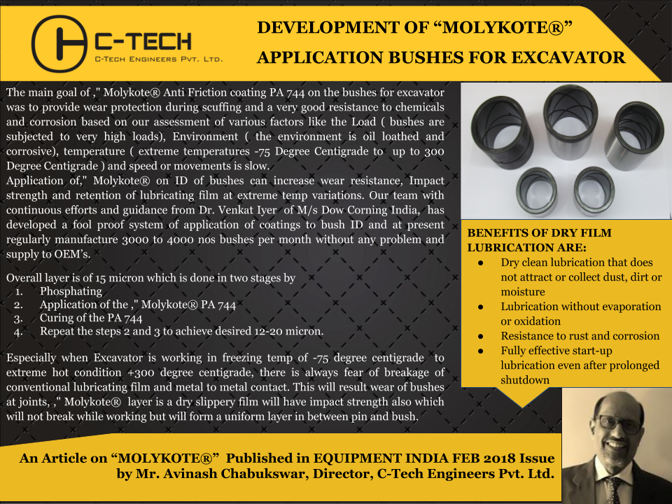 """An Article By Mr. Avinash Chabukswar, Director C-Tech Engineers Pvt. Ltd, on """"MOLYKOTE"""""""